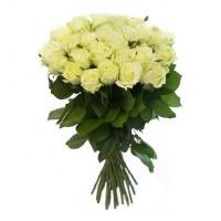 Букет 25 белых роз 50 см